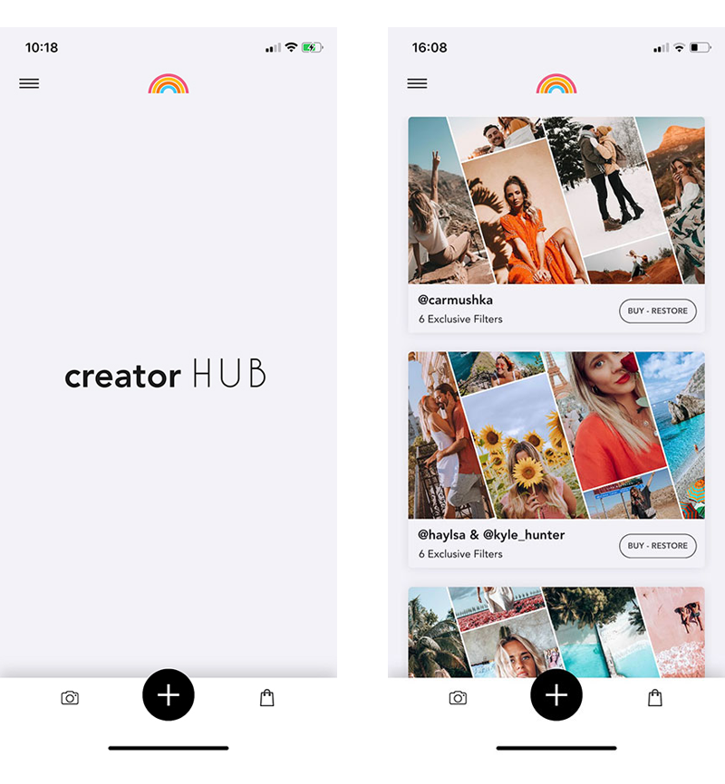 2 screenshots of Creator Hub, the free app to edit video for Instagram