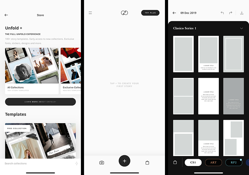3 Screenshots of Unfold, the free app for creating Instagram stories