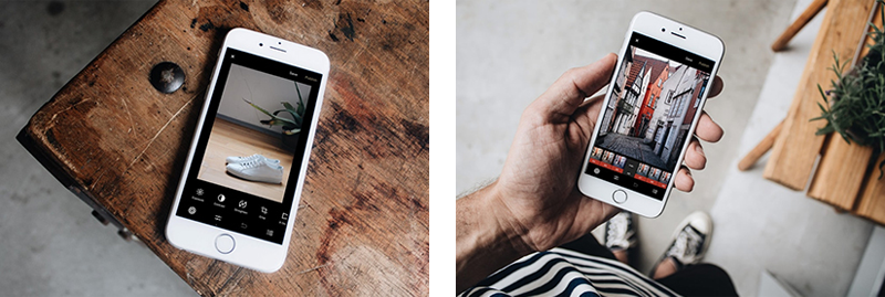 Two pictures of VSCO, the free app for editing photos, shown on the screen of an iPhone. One on the table, the other in a man's hand.