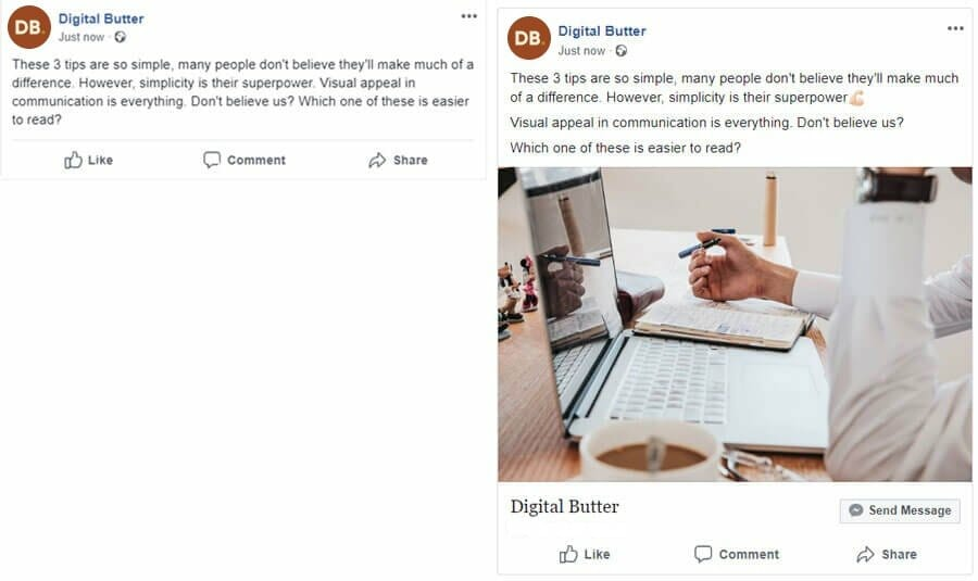 Example of two facebook posts side-by-side showing the methods mentioned in this post put into practice