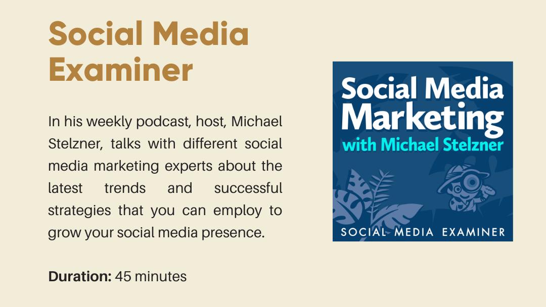 Social Media Examiner Podcast Thumbnail and brief explanation